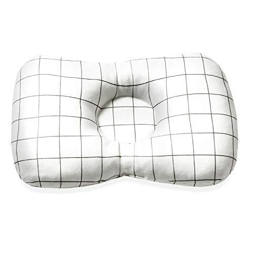 『【正規販売】 Renervate ベビー枕 赤ちゃん枕 洗えるクッション枕 絶壁防止 向き癖 斜頭 変形 猫背 寝姿を矯正 頭の形が良くなる 汗とり 快眠 寝ハゲ対策 通気まくら 安全素材綿100% (チェック)』の1枚目の画像