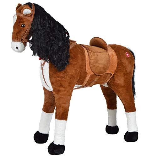 Pink Papaya XXL Super Soft Plüsch-Pferd - Anna 105cm riesiges Luxus Reitpferd für Kinder, Stehpferd zum Drauf sitzen mit Kleiner Bürste, bis 100kg Tragkraft, Farbe: braun/Schwarze Mähne
