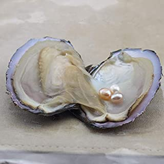Calvas Factory Sale Wish Pearl Oysters Can with Real Rice Freshwater Pearl Inside, One Oyster with Three Pearl Color Random - (Item Diameter: 7 to 8mm)