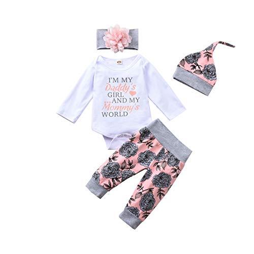 T TALENTBABY Strampelanzug für Neugeborene, Mädchen, bedruckt, mit Blumenmuster, bunte Mütze und Stirnband, 4-teiliges Sommer-Outfit Gr. 86, weiß