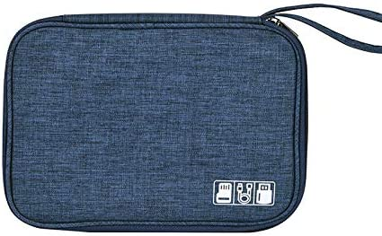 Electronic Organizer Travel Portable Universal Cable Organizer Cable Cord Bag with Strap Electronics Accessories Cases Storage Bag Waterproof for Cable, USB, SD Card, Power Bank, Earphone (Navy)