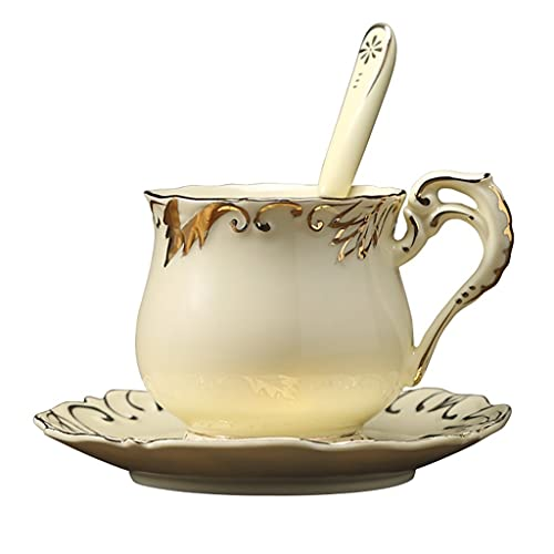 Latte Art Cup European Style Stacking Coffee Cup and Saucers Combo 8.8oz/250ml, Creative Flower Tea Afternoon Tea Cup with Spoon for Office and Home,Hand Painted Gold Rim Design,Light Yellow Coffeezon
