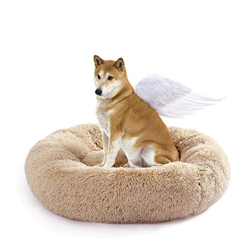 Fangqiyi Redondo Cama Mascotas Perros Donut Cremallera Inferior Que se Puede Quitar y Lavar,para Mascotas Gatos y Perros Pequeños Marrón,100 * 100cm