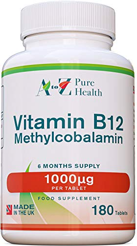 A to Z Pure Health Vitamin B12 1000mcg 180 Tablets (6 Month's Supply) | High Purity B12 Methylcobalamin | Reduces Tiredness & Fatigue | Made in The UK