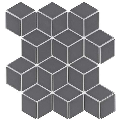 SomerTile FMTRHOGG Metro Rhombus Porcelain Mosaic Floor and Wall Tile, Grey
