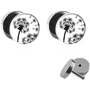 Dandelion Design with Dandelion-Black and White Fake Plugs With Flower Stud Earrings Set-Diameter 10mm-Fake Plug-silver Women's Earrings Lion in Black and White of Surgeons Steel-Steel:Canliiddaa