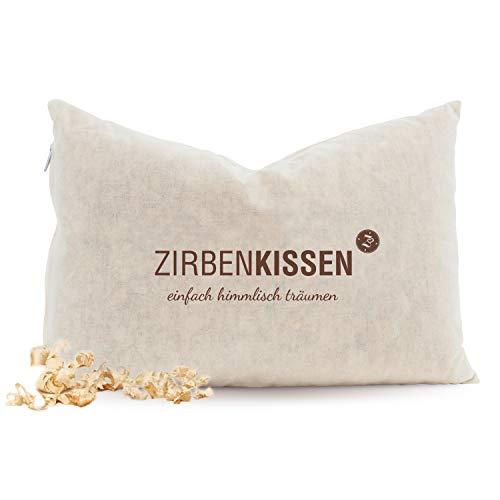 Zirben Familie - bekannt aus dem Fachhandel & der Hotellerie • Natur ZirbenKissen • Weiches Dekokissen • Schlafkissen 30x20cm • Zierkissen gefüllt mit natürlichen Zirbenflocken