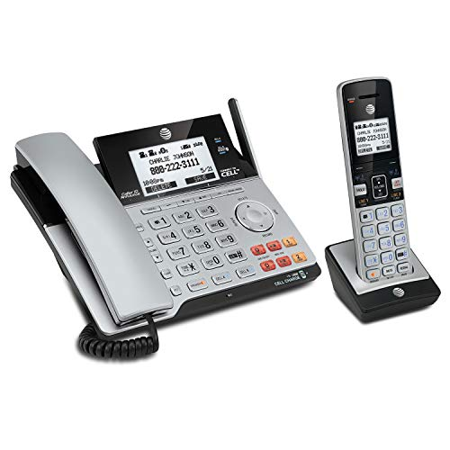 AT&T TL86103 DECT 6.0 Connect to Cell 2 Line Answering System with Caller ID/Call Waiting, 1 Corded...