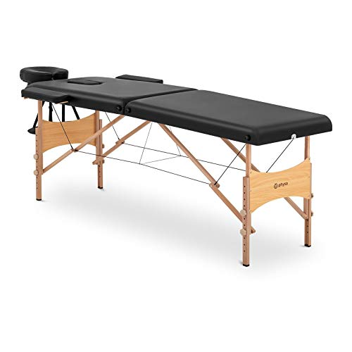 physa Camilla De Masaje Plegable Maleta Para Estética PHYSA TOULOUSE BLACK (Altura de camilla: 63-86 cm, Tapicería de PVC, Estructura en madera de haya)