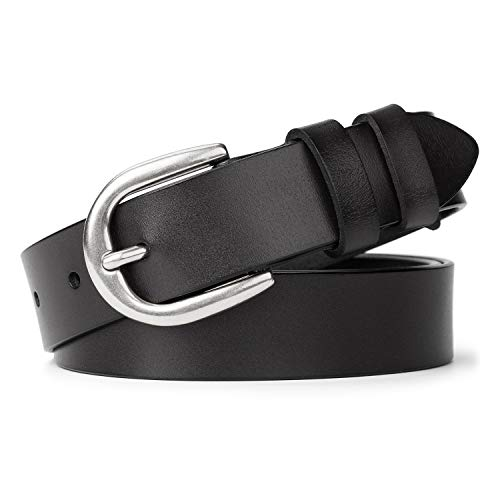 Women Casual Genuine Leather Belt for Jeans, WHIPPY Wide Ladies Waist Belt with Silver Buckle 1.26 Inches Width Strap (Suit Pant Size 29-34 Inches, Black)