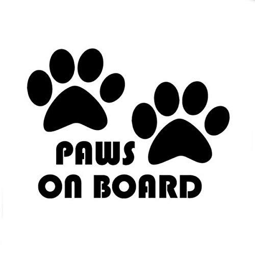 RUIRUI Paws On Board, Dog, Puppy, Foot Car Sticker Car Styling Black 10.5Cm*7.5Cm