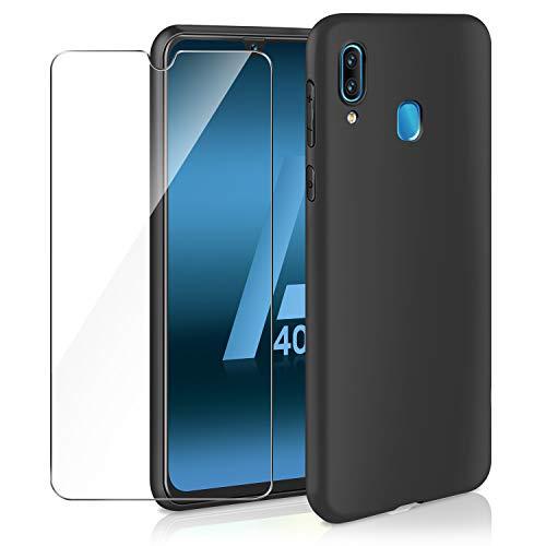 ivencase Cover Samsung Galaxy A40 & Pellicola Protettiva in Vetro Temperato, Nero Silicone Custodia Scrub Molle di TPU Morbido AntiGraffio Case Cover