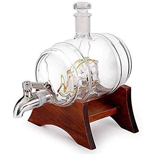 ROSG Juego de Jarra de Whisky, Jarra de Globo de 1000 ml con Grifo de Acero Inoxidable en Forma de velero, Incluye Marco de Pino Fuerte y Resistente