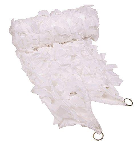 MFH Filet de Camouflage utilisé comme Pare-Soleil ou décoration, Kaki/Blanc, Tarnnetz Mit PVC-tragebeutel, Blanc