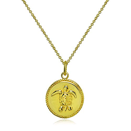 Gold Flashed Sterling Silver Polished Sea Turtle Medallion Coin Round Pendant Necklace