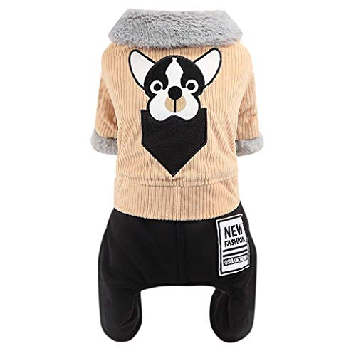 Yowablo Winterjacke Übergangsjacke Hunde Steppjacke Hunde Leicht Jacke College Jacke Jacke Mit Kapuze Jacke Hunde Kapuzenjacke Windbreaker Hardshelljacke Bolero Mit Kapuze (M,1- Braun)