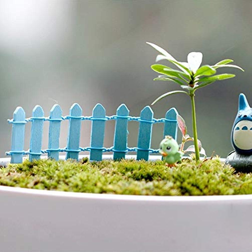 まどろみのある維持グラフィックJicorzo - 20個DIY木製の小さなフェンスモステラリウム植木鉢工芸ミニおもちゃフェアリーガーデンミニチュア[青]