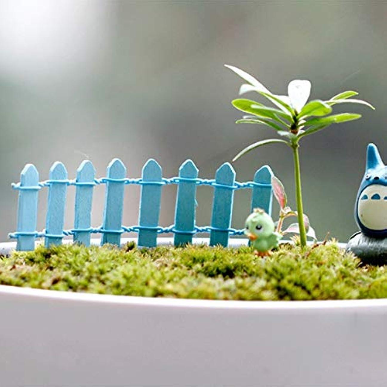 獣厳しい活力Jicorzo - 20個DIY木製の小さなフェンスモステラリウム植木鉢工芸ミニおもちゃフェアリーガーデンミニチュア[青]