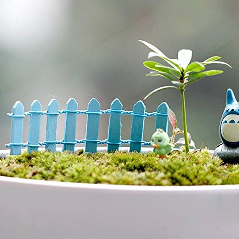 ビデオ推定する変更Jicorzo - 20個DIY木製の小さなフェンスモステラリウム植木鉢工芸ミニおもちゃフェアリーガーデンミニチュア[青]