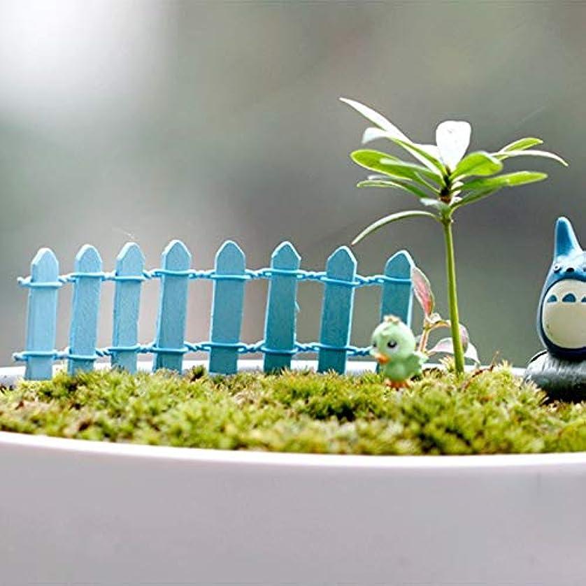 ビバ潜在的な殺人者Jicorzo - 20個DIY木製の小さなフェンスモステラリウム植木鉢工芸ミニおもちゃフェアリーガーデンミニチュア[青]