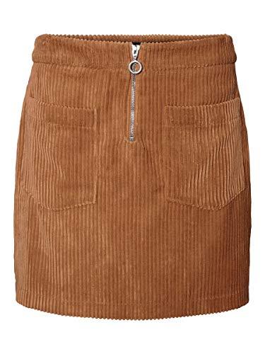 VERO MODA Damen VMCORDATINE HW Short Skirt BOOS Rock, Braun (Tobacco Brown Tobacco Brown), L