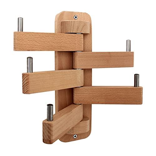 NatVip. Perchero de pared en madera maciza de haya con cinco brazos giratorios. Estilo nórdico para entrada, pasillo, baño, dormitorio, cocina u oficina. Altura 28 centímetros.