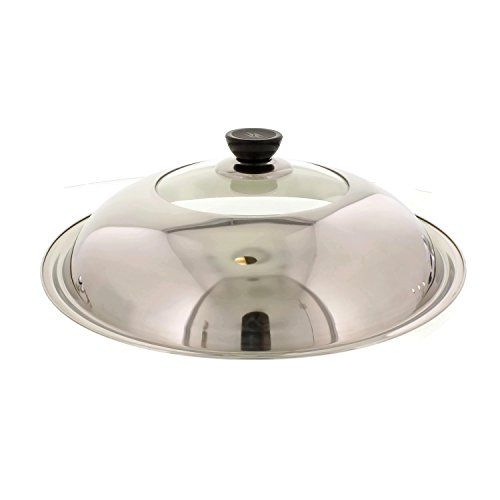 Cheftor Stainless Steel and Heat Resistant Glass Stir Fry Lid Cover for 13 Inch Wok Pan and for 13 Inch Classic Fry pan