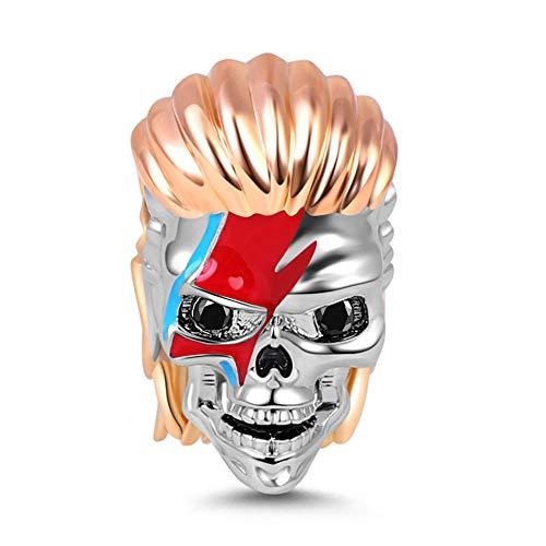GNOCE Rock Skull Charm Bead Sterling Silver Everlasting Lightning 18k Rose Gold Plated Skull Charm Bead Fit Bracelet/Necklace