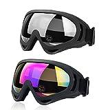 JTENG スキーゴーグル スノボゴーグル UV400 紫外線カット 耐衝撃 防塵 防風 防雪 目が疲れにくい 登山/スキー/バイク/アウトドアスポーツに全面適用 男女兼用 2個セット (カラフル+ブラック)