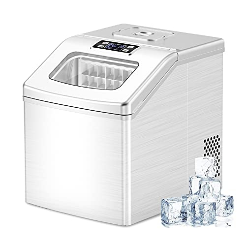 Counter top Ice Maker Machine, 40Lbs/24H Compact Self-Cleaning Ice Makers, 24 Cubes Ready in 15 Mins, Portable Ice Cube Maker with Scoop & Basket for Home Office Bar(Silver(Limited Edition))