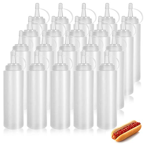 WELLXUNK® Squeeze Bottle, 20 Pcs 4oz Botella de Salsa, Dispensador de Botellas de Plástico - Ninguna Fuga, Sin BPA, para Condimentos, Salsa de Tomate, Mostaza, Mayonesa, Salsa Picante