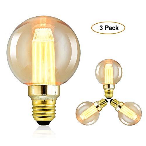 Edison Glühbirne, Edison Vintage LED Lampe E27 3W Retro Glühbirne Vintage Antike Glühbirne,Amber Warm, 3 Stück [Energieklasse A+]