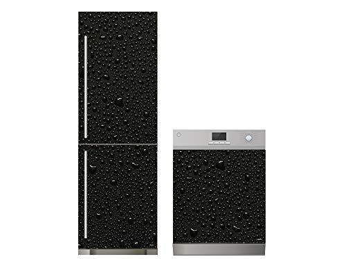 Oedim Pack Vinilo para Frigorífico + Vinilo para Lavavajillas Textura Refrescante Negra | 70x200cm + 65x75cm | Adhesivo Resistente y Económico | Pegatina Adhesiva Decorativa de Diseño Elegante