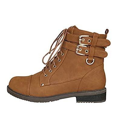 Womens Winter Martin Booties Ankle Lace Up Chunky Low Heel Buckle Strap Boots Brown