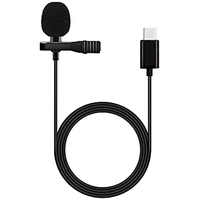 WXS Professional Grade Lavalier Lapel Microphone Omnidirectional Mic 360° Easy Clip on Only for USB TYPE-C Interface Devices for Recording Youtube/Tiktok/Kwai Conference