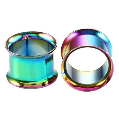 YZRDY De Acero del Oído Túnel De La Carne Anodizado Sin Rosca Doble Tornillo Hueco Acampanada del Ampliador del Oído Accessories (Main Stone Color : 12mm, Metal Color : Style 18)