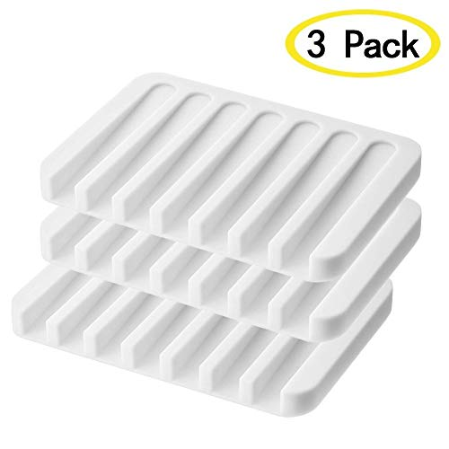 RUIHE Soap Dish Waterfall Soap Holder Drainer Tray for Shower/Bathroom/Kitchen/CounterTop, Keep Bars Dry Cleaning Easy Flexible Silicone 3 Pack (Black)
