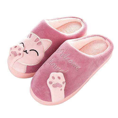 OHQ Zapatillas De Estar por Casa Mujer Invierno Dibujos Animados Gato Antideslizante CáLido Interior Dormitorio Zapatos De Piso