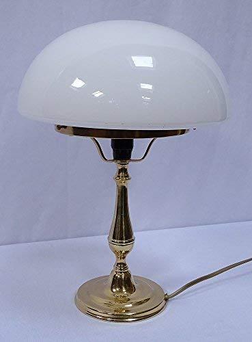 linoows Tafellamp, rustieke bureaulamp, paddenstoellamp, gepolijst messing