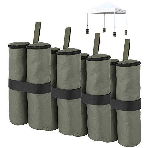 Pavillon Gewichte 4er Set Beschwerer für Pavillons & Zelte befüllbar mit Sand Steinen für Pavillon Partyzelt Gewichte Standsicherung (Armeegrün)