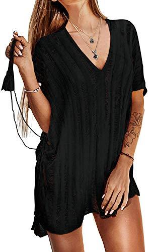 Xinlong Copricostumi da Bagno Donna Copricostume Irregolare in Pizzo Maglieria Bikini Cover Up Tinta Unita Sexy Vestiti da Mare Spiaggia (74-Nero)