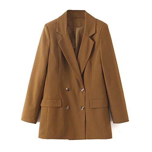 Frauen zweireihiger Anzug Blazer Vintage Style Braun Lang Blazer beiläufige Klage Outwear Khaki L