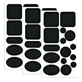 Skystuff Daunenjacken-Flicken aus Nylon, 45 Stück, Reparatur-Klebeband, selbstklebende Reparaturflicken für Jacken, Zelte, Oberbekleidung, rund und oval, schwarz