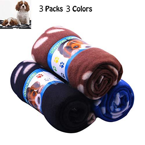 Micropower 3 Pack 35 x 28inches Puppy Fleece Dekens Kleine Honden Katten Warm Zacht Bed Dekens Puppy Slaapmat Pad Bed Kussensloop met Paw Print