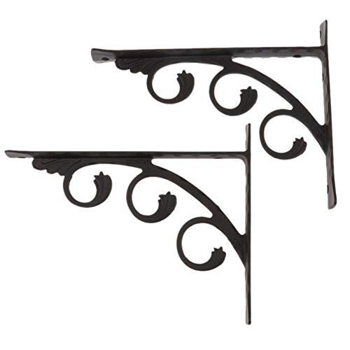 Paquete de 2 soportes de estante Marco de soporte, soporte de estante decorativo en forma de L Soportes de ángulo recto, soportes de estante florales montados en la pared negro