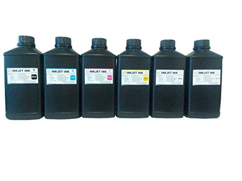6x1000ml ND Brand Premium Led UV Curable Ink for Flatbed Printer Head R290,L800,L1800,R1390,R1400,R2000,DX5,DX7