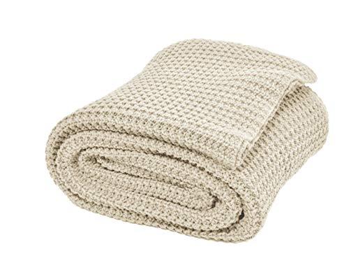 Nielsen Wohndecke Alen grob gestrickt, 150x200 cm, Creme Weiß, 100% Baumwolle, Strick, Grobstrick, Ökotex, Strickdecke, gemütliche modische Elegante Decke