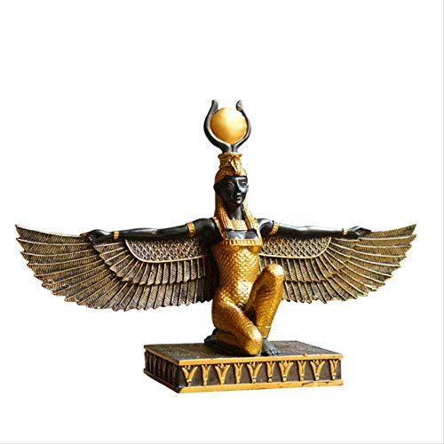 Cutfouwe Alte Göttin, ägyptische Göttin Statue, ägyptische Statue Isis Goddess Statuette, Kunst Skulptur Haus Büro Dekoration Souvenir,Gold