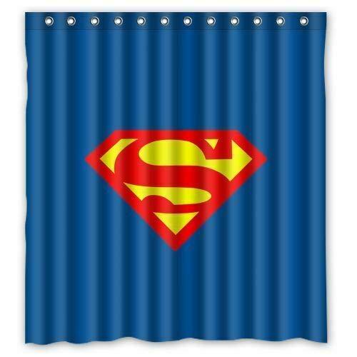 FANG2018 Neuer Superman Duschvorhang Bad Duschvorhang strapazierfähiges Stoffzubehör kreativ mit 12 Haken 180X180CM