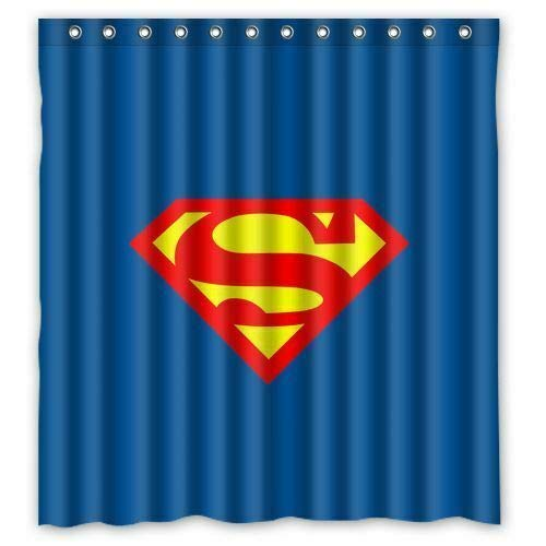 zhanghui2018 Neuer Superman Duschvorhang Bad Duschvorhang strapazierfähiges Stoffzubehör kreativ mit 12 Haken 180X180CM